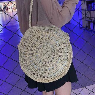 OLGALOG - 草編圓形單肩包