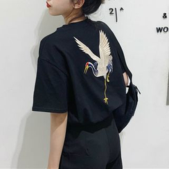Moon City - Embroidered Short-Sleeve T-Shirt