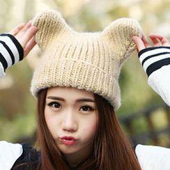 Heloi - Bear Ear Melange Knit Hoodie