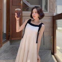 MERONGSHOP - Contrast Tie-Shoulder Long Tiered Dress