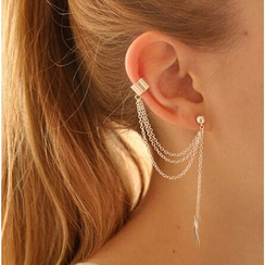 Terreau Kathy - Leaf Drop Earring and Chain Ear Cuff