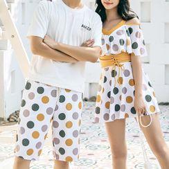 Salanghae - Couple Matching Short Sleeve V-Neck Dotted Print Swimdress / Swim Shorts