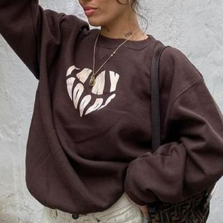Sosana - Long-Sleeve Lettering and Heart Embroidery T-Shirt