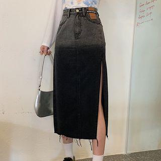 Dute - Distressed Slit Denim Midi Pencil Skirt