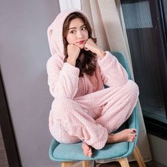 Cinni - Rabbit Ear Hooded Onesie Pajama