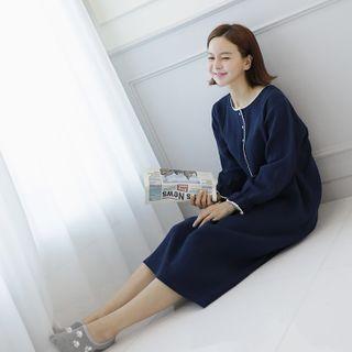 Lemite - Half-Placket Crochet-Trim Shift Dress