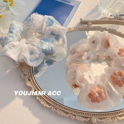 Yukami - Floral Embroidery Mesh Scrunchie
