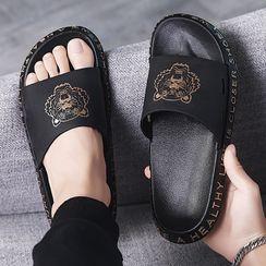 HANO - Lettering Print Flat Slide Sandals