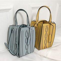 FAYLE - 套装: 镂空仿皮水桶包 + 抽绳小袋