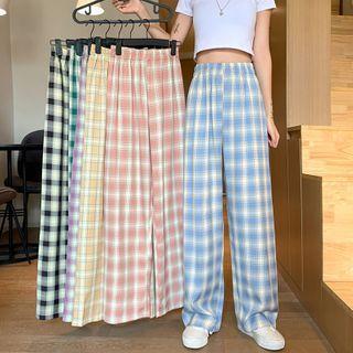 Closette - Elastic-Waist Plaid Straight-Cut Pants