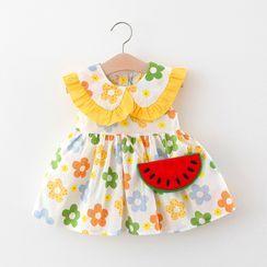 Mini Bae - 小童花朵印花無袖A字連衣裙