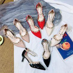 Chunki - Pointy-Toe Studded Stiletto Heel Sandals