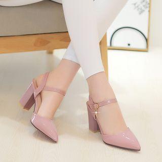 Megan - 漆皮尖頭踝帶粗跟鞋