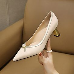 Cinnabelle - Block Heel Faux Pearl Pointed Pumps