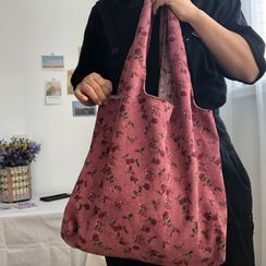 Sacculi(サックリ) - Floral Print Corduroy Tote Bag