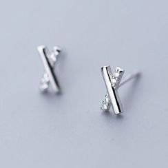 A'ROCH - 925 Sterling Silver Rhinestone Cross Stud Earring