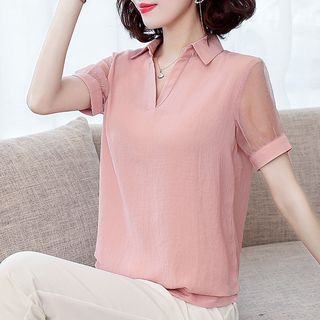 In the Mood - Short-Sleeve Paneled Blouse
