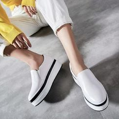 JY Shoes - Genuine Leather Platform Slip-Ons