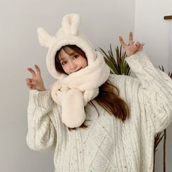SOCOOL - Rabbit Ear Hooded Scarf with Mittens