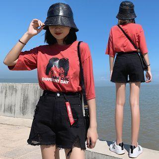 Hevnir - Distressed High-Waist Denim Shorts