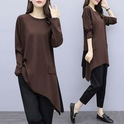 Kotoba - Set: Long-Sleeve Asymmetric Tunic + Tapered Pants