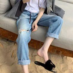 Apotheosis - 做舊九分直筒牛仔褲