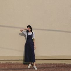 CHERRYKOKO - Buttoned Long Overall Dress