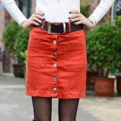Sugar Hime - Buttoned A-Line Skirt