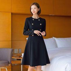 CHICLINE - Button-Trim A-Line Dress
