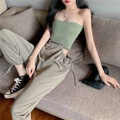Slowmak - Chain Strap Camisole Top / Cutout Harem Pants