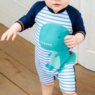 Aqua Wave - Kids Printed Long-Sleeve Rashguard  / Swim Goggles / Ear Plugs / Nose Clip / Drawstring Organizer Bag / Swim Cap / Set