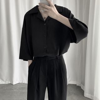 Mudian - Oversized Elbow-Sleeve Plain Shirt