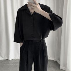 Mudian - エルボースリーブプレーンシャツ