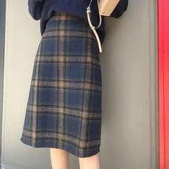 Gray House - Plaid Midi A-Line Skirt