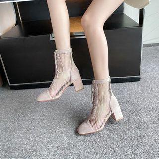 佳美 - 粗跟镂空系带及踝靴