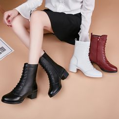 Danceon - Block Heel Lace-Up Short Dance Boots