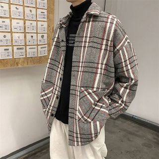 DuckleBeam - Plaid Woolen Loose-Fit Shirt