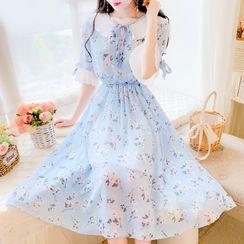 Petit Lace - Short-Sleeve Ruffled Floral Chiffon Dress
