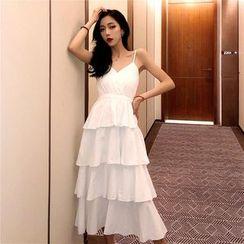 Shiga - Strappy Tiered Midi A-line Dress