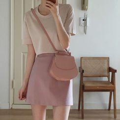 Leoom - Short-Sleeve T-Shirt / A-Line Mini Skirt / Set