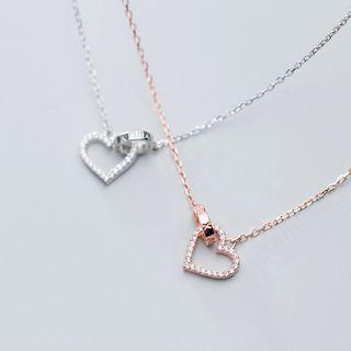 A'ROCH - 925 Sterling Silver Rhinestone Heart Pendant Necklace