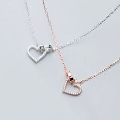 A'ROCH(エーロック) - 925 Sterling Silver Rhinestone Heart Pendant Necklace