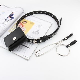 Rofuka(ロフカ) - Faux Leather Belt / Safety Pin / Hoop / Pouch / Set