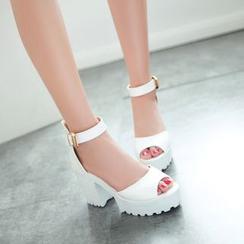 佳美 - 踝帶粗跟涼鞋