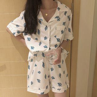 Sadelle - Pajama Set: Short-Sleeve Cactus Print Shirt + Shorts
