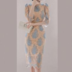 Kevina - 3/4-Sleeve Print Midi Lace Dress