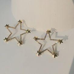 EBIZA - 水钻星星耳环 / 夹式耳环