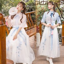 Pinocle - Elbow-Sleeve Embroidered Traditional Chinese Costume
