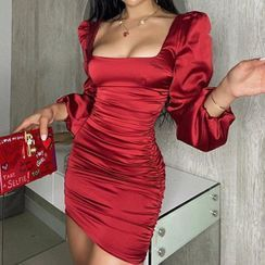 MOONGATE - Square-Collar Long Sleeve Satin Ruched Dress