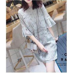 Chata - Elbow-Sleeve Crochet Lace Shift Dress